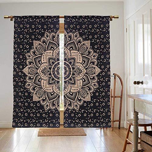 Krati Exports Bohemian Beautiful Ombre Color Mandala Curtain Panels (Black Gold Lotus)