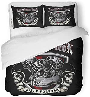 Semtomn Decor Duvet Cover Set Full/Queen Size Bike Skull of Biker in is Easy to Remove 3 Piece Brushed Microfiber Fabric Print Bedding Set Cover