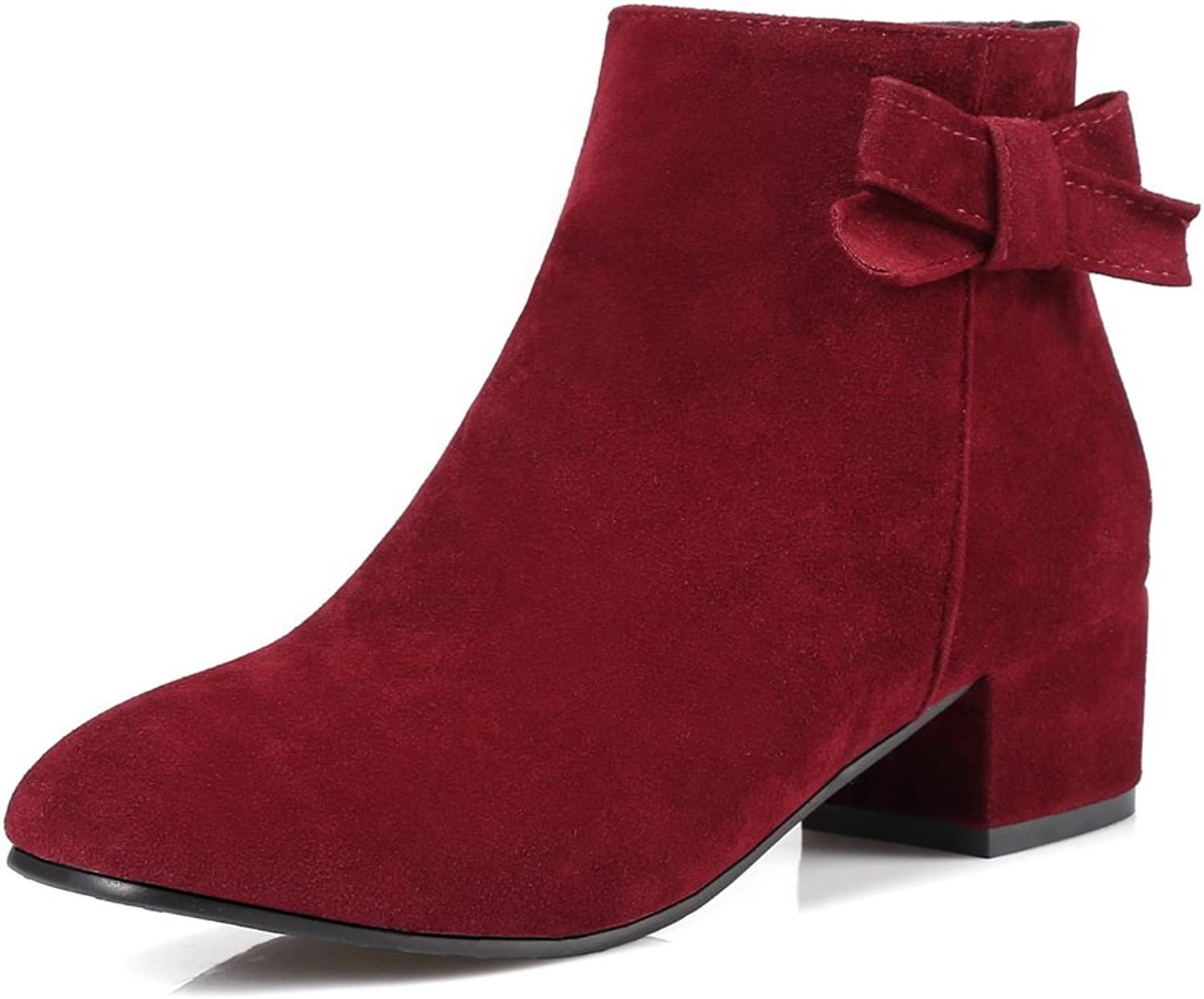 A&N Womens Boots Low-Top Zip Heeled Warm Lining Toggle Nubuck Pointed-Toe Suede Suede Boots DKU01777