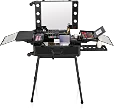 Ovonni LED Makeup Train Case, Lighted Rolling Travel Portable Cosmetic Organizer Box with Mirror & 4 Detachable Wheels, Professional Artist Trolley Studio Free Standing Workstation, Black
