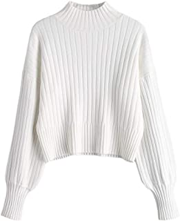 Women's Mock Neck Long Sleeve Ribbed Knit Basic Pullover Sweater