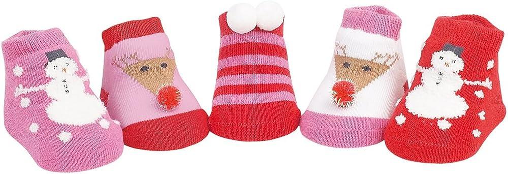 Country Kids Baby Girls' Snowman Reindeer Christmas Holiday Stocking Socks, 5 Pair Gift Set