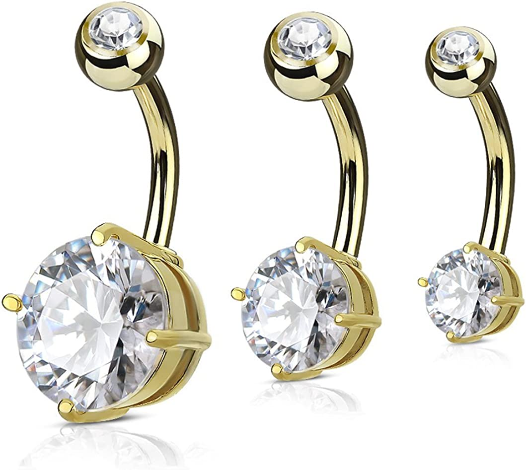 Forbidden Body Jewelry Value Pack 3-Pcs Surgical Steel Cubic Zirconia Solitaire Round Crystal Belly Button Rings