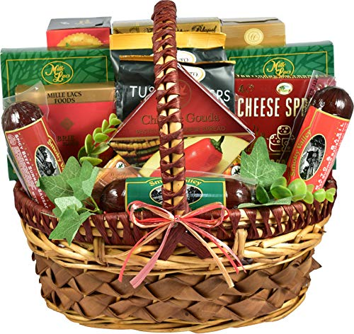 Gift Basket Village A Cut Above, Cheese and Sausage Gift Baskets (Medium) with Uniquely Paired Meats and Cheeses