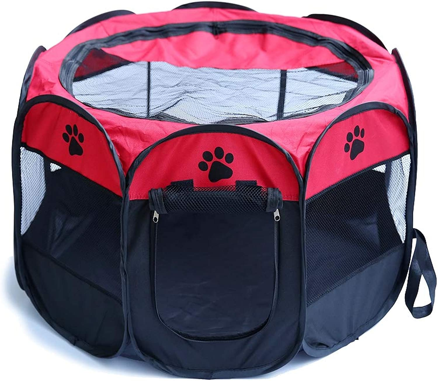 Portable Pet Tent,Breathable Folding Octagonal Pet Fence,Available Both Indoors and Outdoors,Red,M