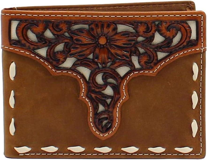 ARIAT Men's Bifold Removable Pass Case Overlay Stitch Medium Brown