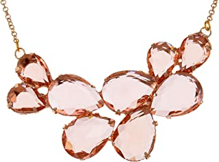 Rose Gold Champagne Tone Crystal Teardrop Cluster Chunky Statement Bib Pendant Necklace