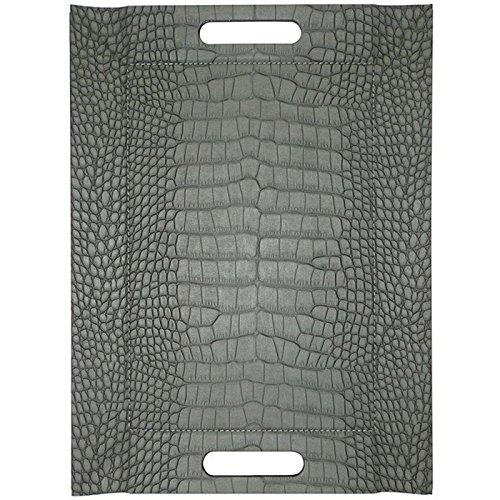 Mock Crock - 2in1 wendbares Tablett & Tischset mit Textur, schwarz/grau, Kunstleder, Maße: 45 x 35 cm