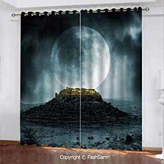 "Best Home Fashion Blackout Curtains Big Full Moon Over a Fantasy Castle on Hill Clouds Rocks Valley View Window Treatment Pair for Bedroom(55""X45"")"