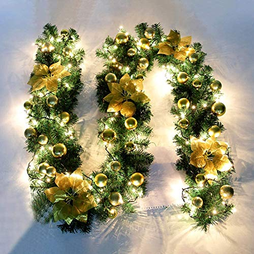 Hengqiyuan Christmas Garland 2.7M DIY Artificial Wreath Xmas Decoration Pre-Lit Garlands Wreath Decor with Illuminated LED Fairy Light Ornament for Stairs Fireplace Door Yard Xmas Tree,Gold