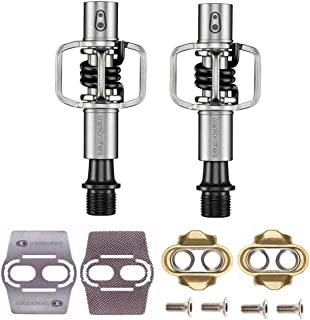 CRANKBROTHERs Crank Brothers Eggbeater 1 Hangtag Bike Pedals with Premium Cleats and Bicycle Shoe Shields Set (Black)