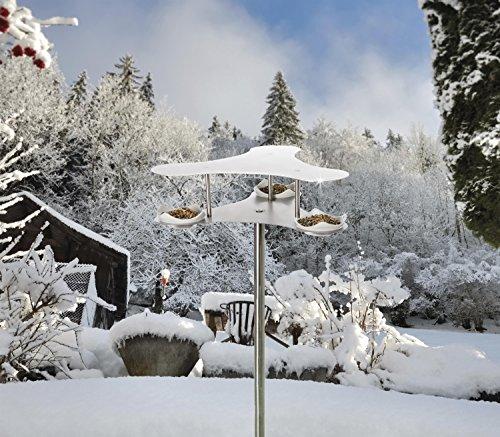 Vogelhotel PENTHOUSE – Futterstation aus Edelstahl – Vogeltränke Futterstelle - 3
