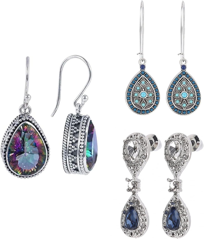 Timesuper 3 Pairs Vintage Earrings Set Teardrop Rhinestone Drop Dangle Earrings Long Boho Earrings Jewelry for Women Girls