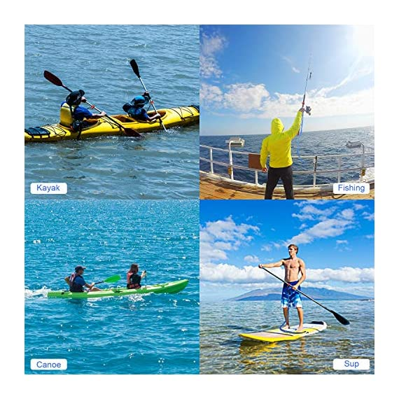 """FIRINER 2 Pack Stretchable Paddle Leash with D-Shape Carabiner, 3.6ft Kayak Paddle Tether Set Coiled Strap Bungee Leash… 6 【Easy to Use】This paddle leash is easy to use and attach. All you have to do is to tie its one end to the paddle or fishing rod and attach the other end to your life jacket or your boat with the carabiner 【Stretchable Design】The kayak leash paddle can be extended from 44.8 inch to 59 inch, which is long enough for most usage. 14"""" of elongation keeps you reach what you need when paddling or reeling to a large extent 【Durable】This kayak paddle leash is made of 6mm super strong elastic rubber to make sure its service time, the fixed elongation won't over stretch and loose elasticity. And nylon outer greatly increase its anti-corrosion performace and longer service life"""