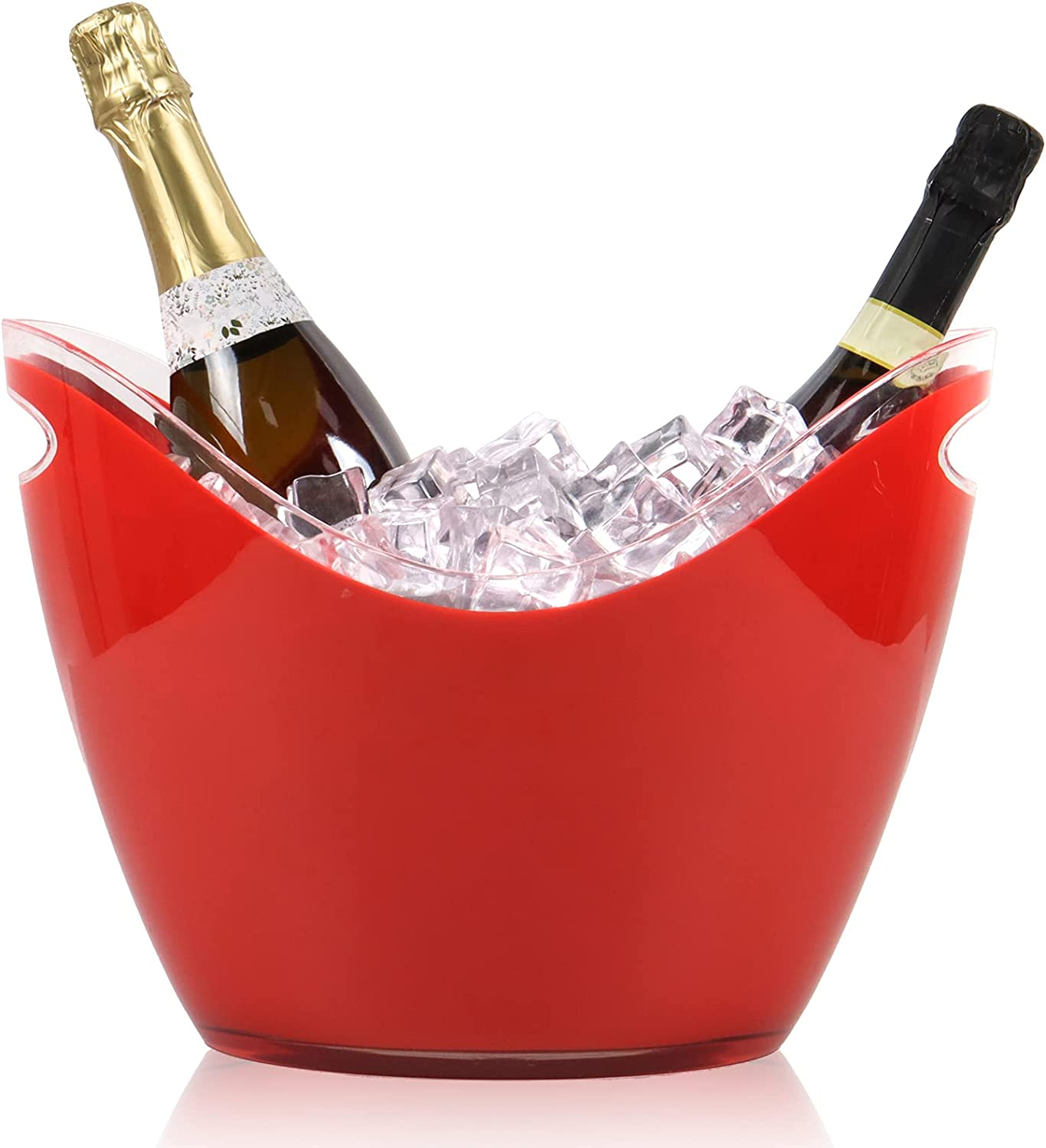 8L Acrylic Beverage Tub Large Ice Bucket Wine Champagne Beer Bucket for Parties Barbecue Picnic Red
