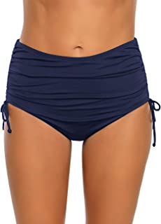 luvamia Women's Ruched High Waist Bikini Tankini Bottom Side Tie Solid Swim Brief