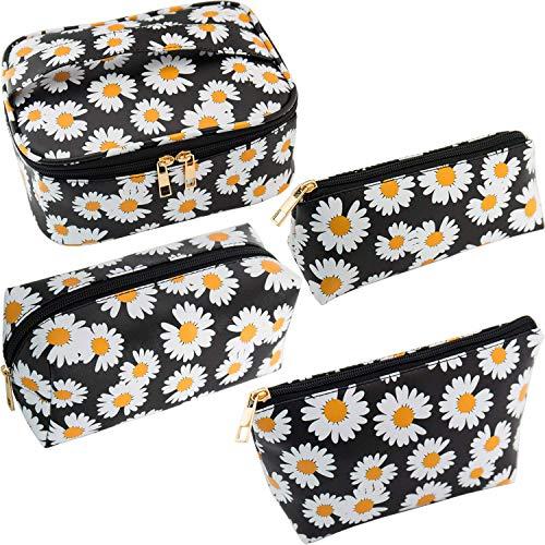 Wuudi 4 partes cosméticos bolsa de maquillaje para viaje portátil bolsa de maquillaje con aspecto moderno de manzanilla PU cuero impermeable