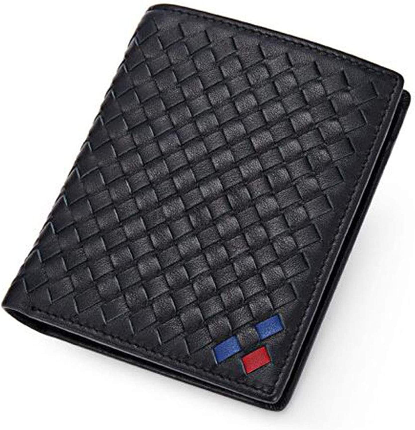 7e0f53c7285c Huijunwenti Men's Hand Woven Fashion Leather Wallet - - - Black Wallet  (Style greenical Style) c9d5a2