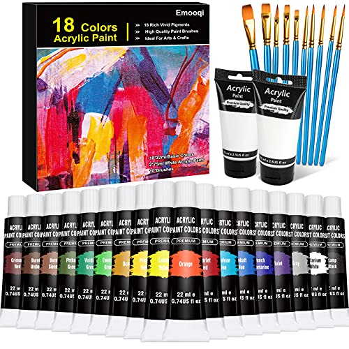 Acrylic Paint Set, Emooqi 18 Colors(22ml)+2 white(2.54 oz/75ml), Non Fading,...