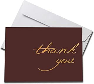 (5 count) Foiled Maroon Thank You Cards Set with Envelopes – professional paper with blank white inside – notes for baby or bridal shower wedding birthday party
