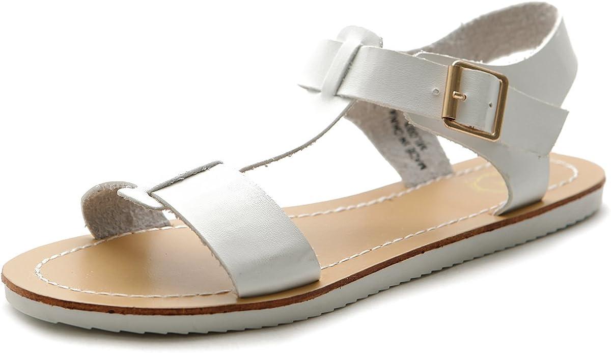 sold out Ollio Women's Shoe Strap Side Color Multi Buckle Slingback Flat Japan's largest assortment
