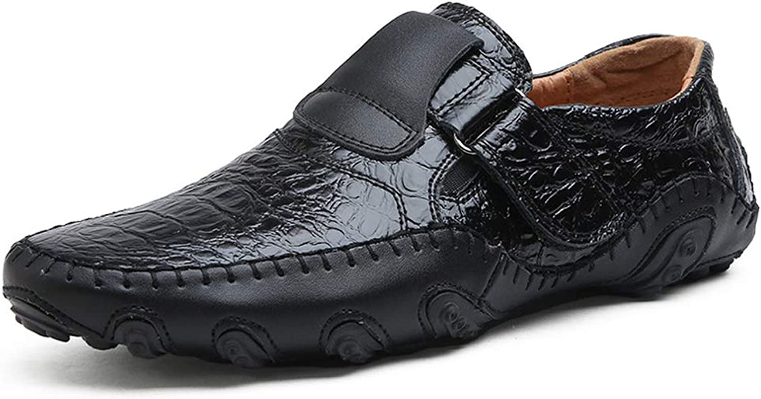 Driving boat shoes men's summer crocodile pattern shoes Velcro leather lazy outdoor leisure England hiking hiking low to help flat breathable wear large size 38-48