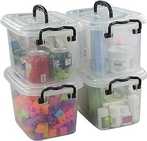 Jekiyo 7 Quart Plastic Latching Box, Clear Bin with Black Handle, 4 Packs