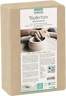 Glorex 6 8073 605 – Argile de poterie non réfractée, 5 kg en blanc, souple et facile à travailler, sans composants réfract...