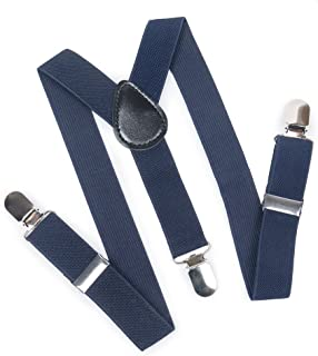 "ELENKER Baby Boys Adjustable Elastic Solid Color Suspenders, 1"" Wide"