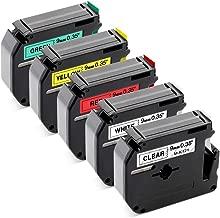 Label KINGDOM Compatible M Tape MK221 MK121 MK421 MK621 MK721, Replacement for Brother P-Touch Label Maker PT-M95 PT-90 PT-70BM PT-65 PT-85, 9mm 3/8 Inch Tape, Multicolor Combo Set, 5-Pack