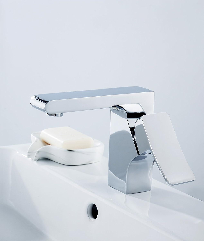 Sccot Waschbecken Armatur Badarmatur Mischbatterie Bad Wasserhahn Waschtisch Mischbatterie Einhebel Waschtisch Armatur aus Messing, chrom