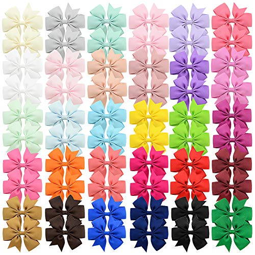 60pcs 3 Inches Baby Girls Hair Bows Alligator Clips Grosgrain Ribbon Pinwheel Hair Barrettes for Babies Kids Toddlers Teens Gifts In Pairs