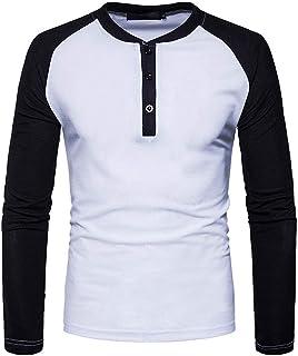 Chunmei Men's Long-Sleeved Shirt Slim fit Round Neck with Grandad Button Placket All Seasons Henley Shirt Classics Premium...