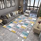 alfombras Exterior Alfombra de Sala de Estar Gris Azul Amarillo protección del Medio Ambiente Suave y cómoda Antideslizante para alfombras alfombras de Salon Grandes 160X200CM 5ft 3' X6ft 6.7'