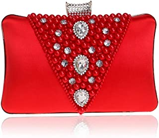 Runhuayou Ladies New Beaded Evening Dress Clutch Pearl Crystal Rhinestone Evening Clutch Bag Bridal Banquet Phone Bag Ecru/Black/Purple/Red/Flatware Great for Casual or Many Other Occasions Such