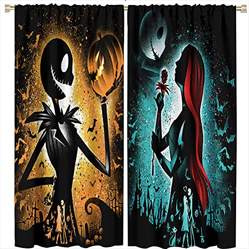Nightmare Before Christmas Window Blackout Curtains Halloween Curtain,Jack Skellington and Sally Blackout Curtains Rod Pocket Darkening Window Drapes Halloween Decorations Indoor,W42Xl63 Inch