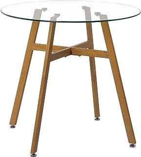 H.J WeDoo Table à Manger Ronde en Verre Scandinave Moderne avec Pieds en Métal 80X80X75 cm