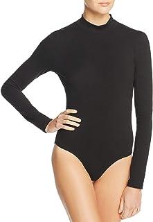 Frame Denim Women's Mock Neck Long Sleeve Open Back Bodysuit in Noir (Black)