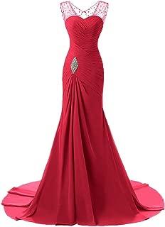 Honeywedding Womens Keyhole Pleated Long Formal Evening Dress Crystal Prom Ball Gowns
