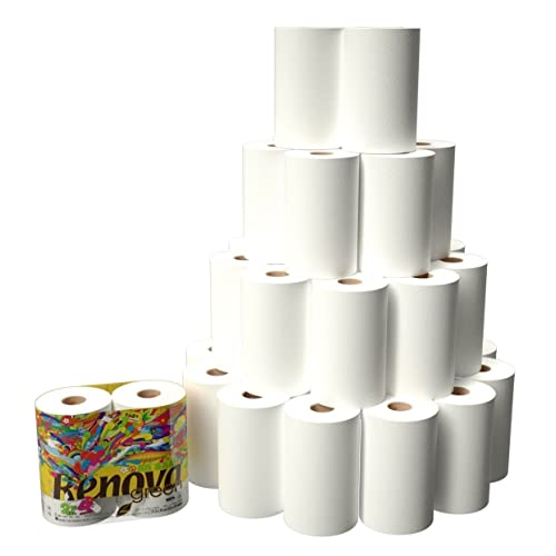 18 Rolls of Renova Green Eco Label 100% Recycled White Kitchen Roll Paper Towels