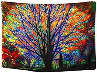 Colorful Tree Tapestry Wall Hanging Psychedelic Forest Wall Tapestry Bohemian Mandala Hippie Wall Carpet for Bedroom Livin...