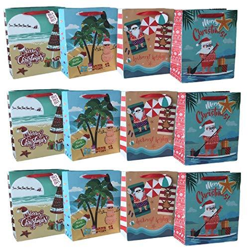 Nautical Christmas Coastal Beach Theme Christmas Holiday Bags | Pack of 12 | 4 Designs | Santa, Reindeer, Snowman on The Beach