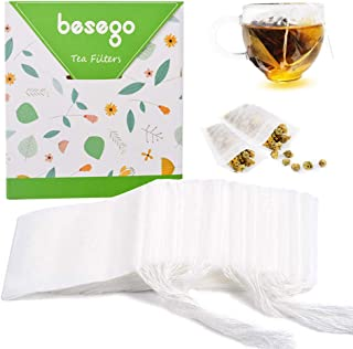 Besego Disposable Drawstring Tea Filter Bags, Empty Tea Bags Corn Fiber Natural Material Seal Tea Infuser Bag, Biodegradab...