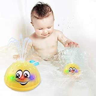 Bath Toys, Water Spray Toys for Kids Baby Bath Toys for Toddlers LED Light Up Bathtub Toys for Toddlers Sprinkler Bath Toy Baby Shines Bath Toy Baby Toys-Yellow