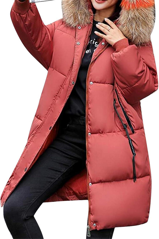SHOWNO Women Winter Hooded Pure color Bread Warm Plus Size Fur Collar Puffer Coat