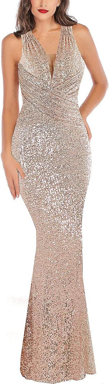 A ARFAR Women Wedding Sequin Dress V-Neck Sleeveless Dress Mermaid Maxi Long Dress Formal Evening Prom Gowns