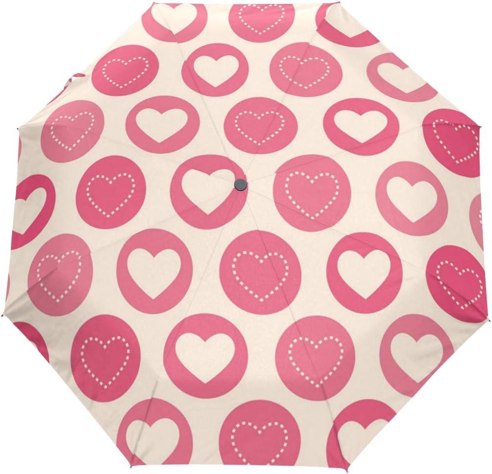 UV Protection Max 64% OFF Automatic Open store Hearts Umbrellas Pattern Geometric