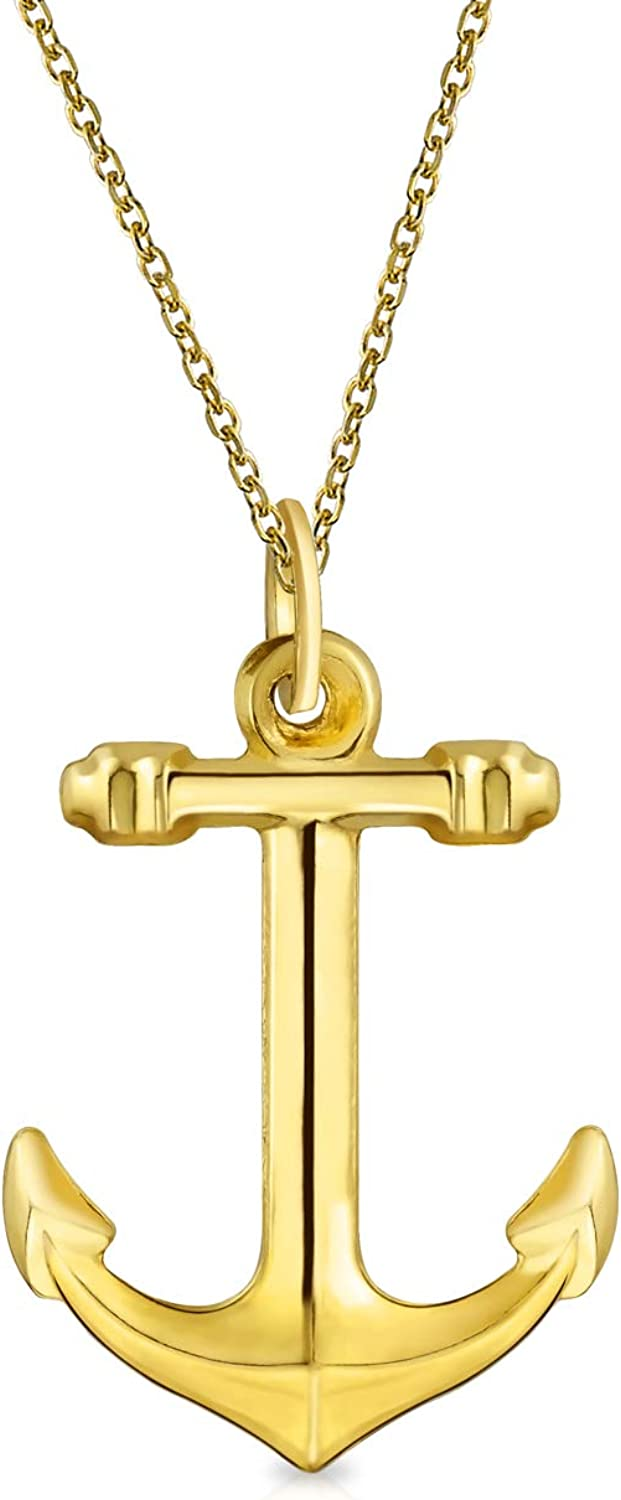 14K Yellow Real Gold Nautical Boat Anchor Pendant Necklace For Women For Men With 14K Gold Chain
