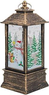 Decoración de Navidad, 1 pieza grande de decoración de Navidad, vela de Navidad vintage con velas de té LED, lámpara de llama lampión para fiesta de Navidad, boda, jardín, decoración del hogar