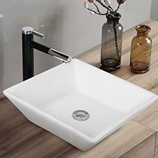 """Tangkula 16"""" x 16"""" Square Bathroom Vessel Sink, Porcelain Ceramic Above Counter, White Basin Vessel Vanity Sink Art Basin with Pop-up Drain, Ideal for Home, Restaurant and Hotel, White"""